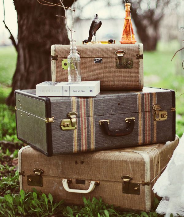 vintage suitcase stack, stripes Repinned by www.silver-and-grey.com