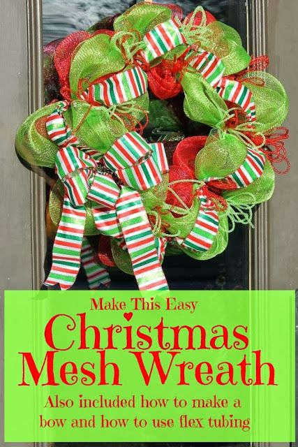Miss Kopy Ka blogt: How To Make A Christmas Mesh Wreath...also included in tutorial is how to use deco flex tubing and how to make a bow with wired ribbon