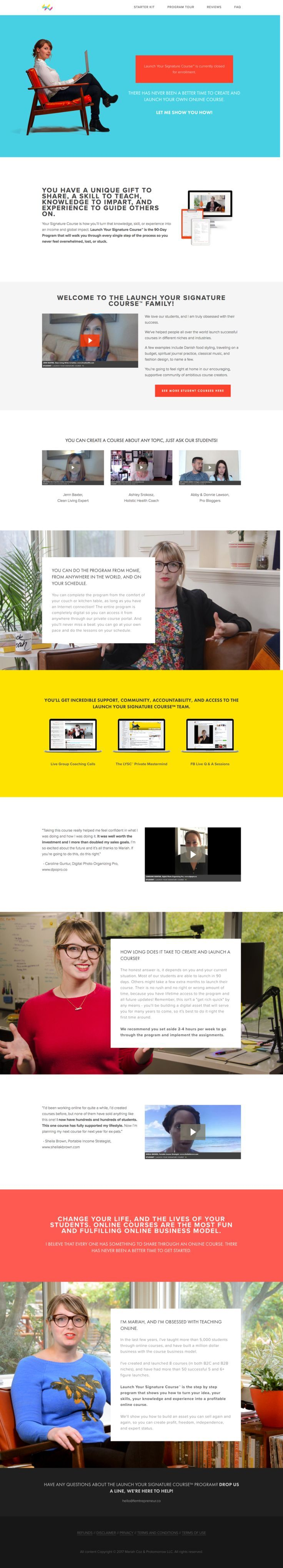 Website home page or start here page example - In this episode, we're addressing why it is the best practice to create a  separate website for your course. It will save you so much time in the long  run, and we're going to explain why!  Be sure to grab our free Squarespace video training too so you can get an  insider's peek into the backend