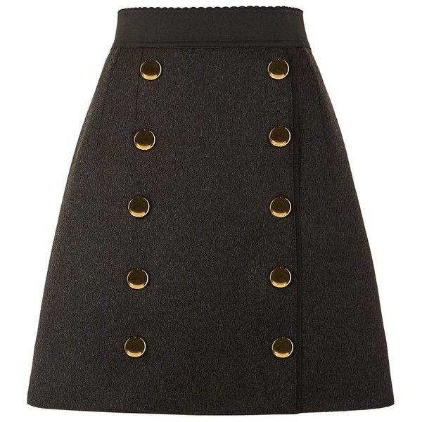 Dolce & Gabbana Military Button Skirt (7.940 NOK) ❤ liked on Polyvore featuring skirts, scalloped skirt, a-line button front skirt, military skirt, scallop hem skirt and button skirt