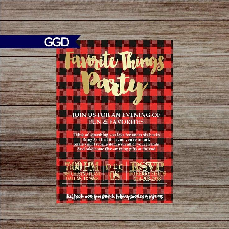 free ecard christmas party invitations%0A Buffalo Plaid Favorite Things Christmas Party Invitation  https   www etsy com