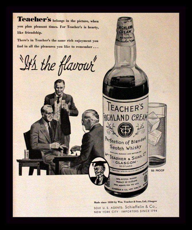 wall art decor 1966 Teacher/'s Highland Cream Scotch Whiskey liquor ad retro post