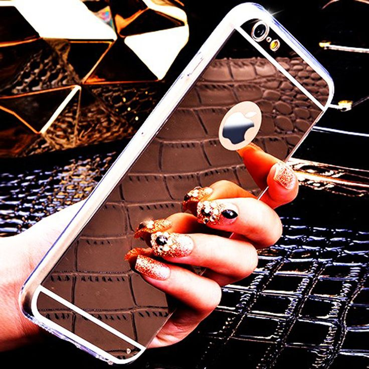 Fashion Ultra Slim Soft Case For Iphone 5S Clear Silicone Edge  Shinny Mirror Back Cover For Iphone 5 5S SE Phone Cases