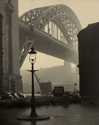 This image again from the Newcastle Libraries collection on flickr was a very strong contender for the poster for the play, the light is amazing and the image of the flock of sheep coming under the bridge past the 1950s cars is very arresting, along with the lamp forming on the round about. Although there is a mention in the play of sheep being herded along Broad Chare, it was felt that this image was very much of a particular era that wasnt a key time setting for the play.