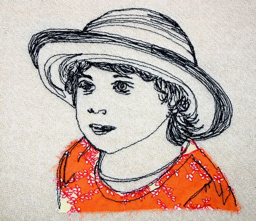 Freehand machine embroidery portrait of my daughter India by Katherine Bertram
