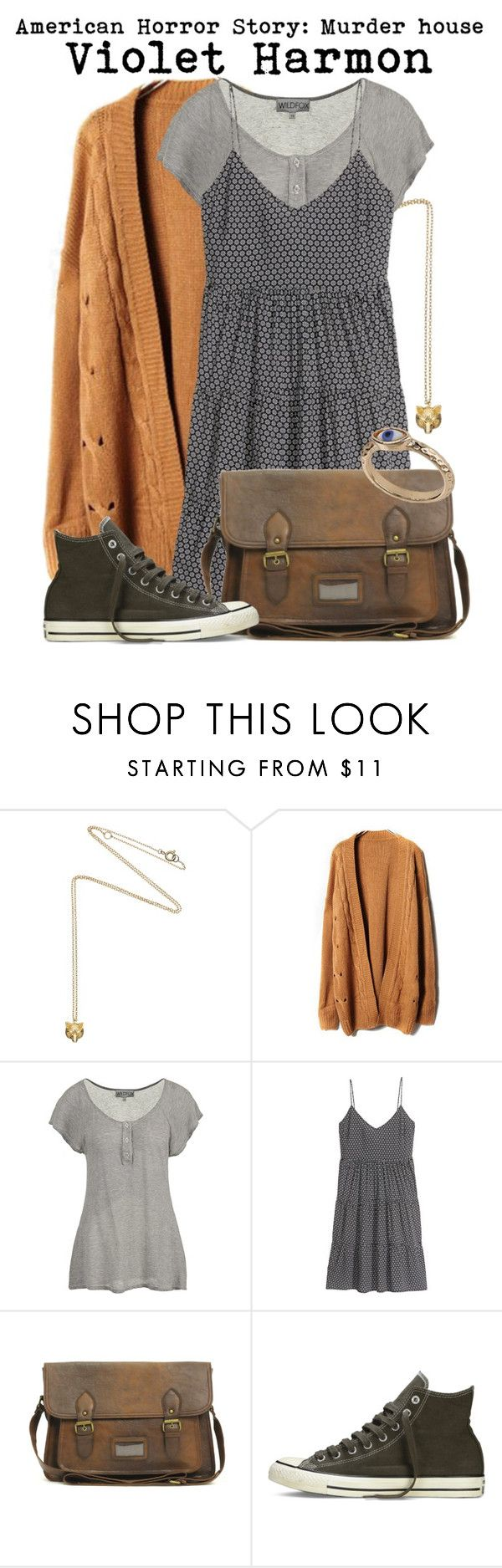 """""""American horror story- Violet Harmon"""" by darcy-watson ❤ liked on Polyvore featuring Estella Bartlett, Wildfox, H&M, ASOS, Converse, Topshop, violet and ahs"""