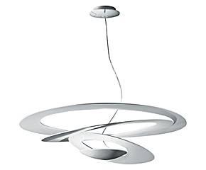 Deze bijzondere hanglamp Pirce van Artemide ziet eruit alsof hij uit papier gesneden is. Dit is een ontwerp van de jonge designer Giuseppe Maurizio Scutella en is een witte schijf van aluminium die eruit ziet als een lange appelschil.