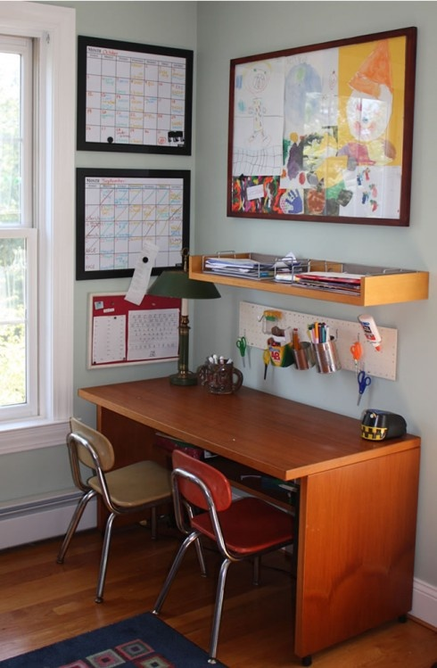 kids study idea... I like that the desk is be enough for two kids. I like the shelf and I kind of like the hanging utensils.