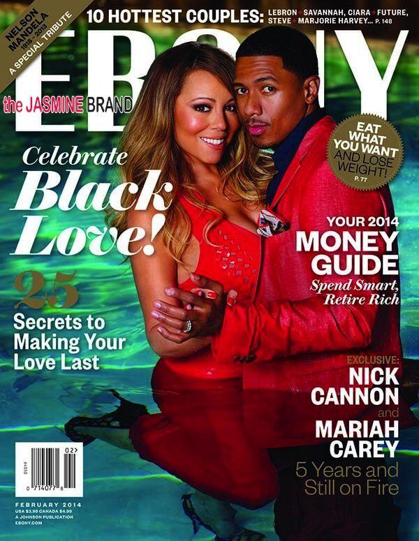 Nick Cannon and Mariah Carey Ebony Magazine February 2014.  Thank u for wearing heels IN the pool Marah. Thank you