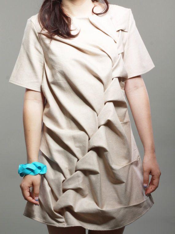 Smocked Dress - large scale smocking, creative fabric manipulation for fashion design