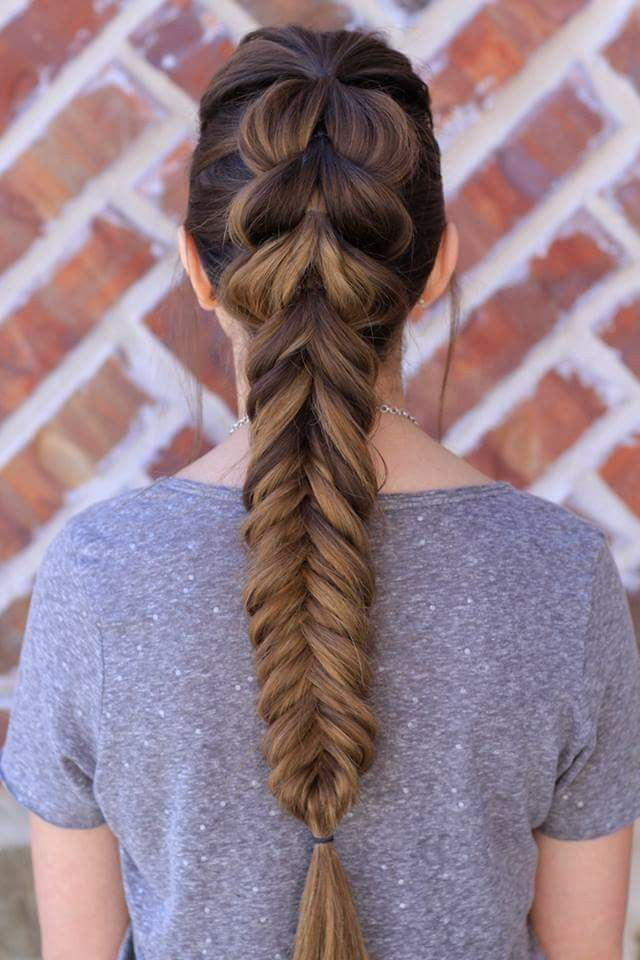 The braid on the top is a looped through trick with regular fishtail at the bottom. It's all actually pretty easy!