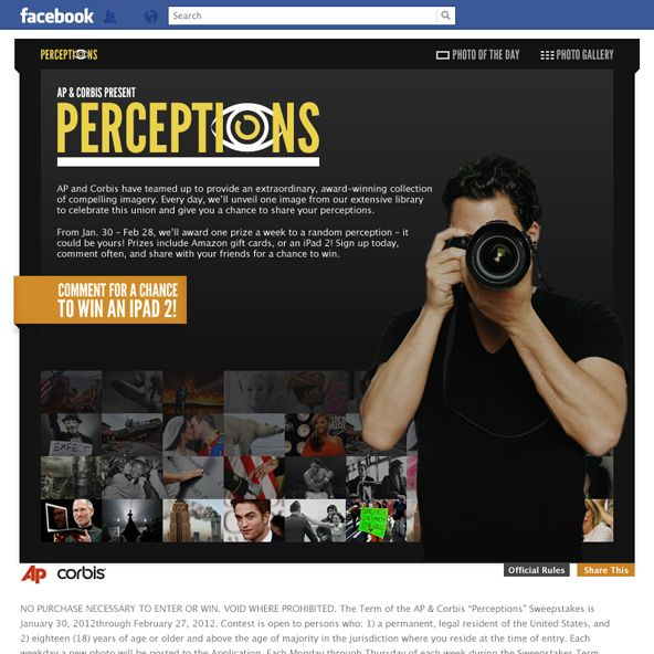 Perceptions by Bobira:  The Associated Press and Corbis Corporation wanted to get the public's perspective on some of their award-winning photography. Bobira's POV was welcome.  Bobira created the AP & Corbis Perceptions application for Facebook to celebrate their collection of fine images and allow their community to share their views on each one for a chance at great prizes.