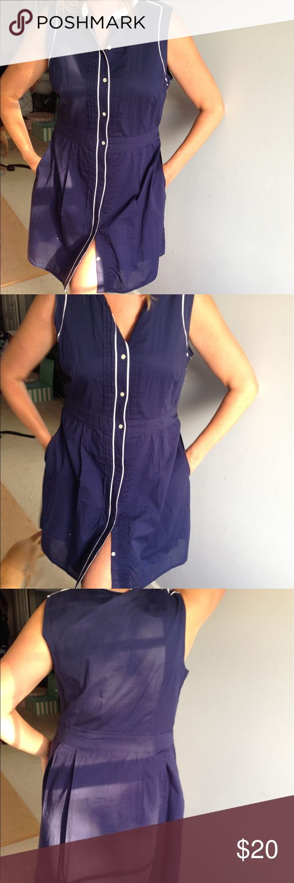Tommy Hilfiger Nautical A Line Button Down Dress Perfect condition, nautical looking navy and white button down dress. Size XL! Tommy Hilfiger Dresses Midi