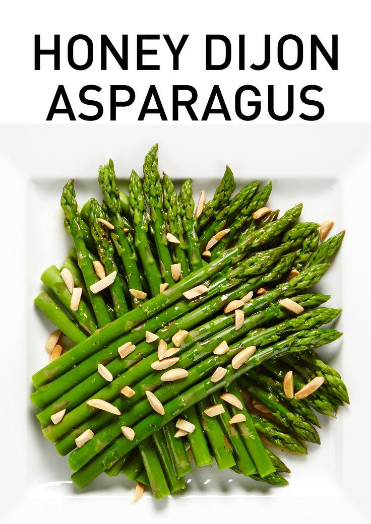 Tender crisp asparagus drizzled with honey dijon vinaigrette and ...