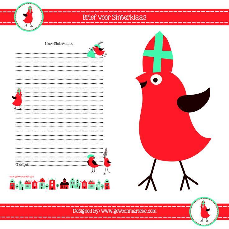 ~Brief voor Sinterklaads om uit te printen van GewoonMarieke.nl~