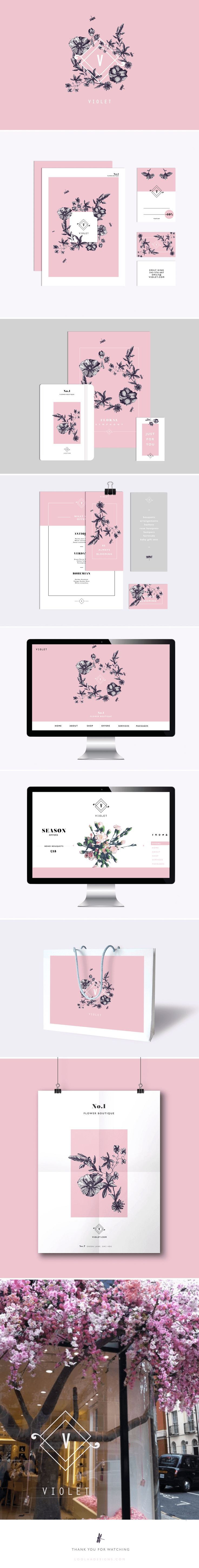 Branding and logo design / hand drawn boho flowers + pink + grey…