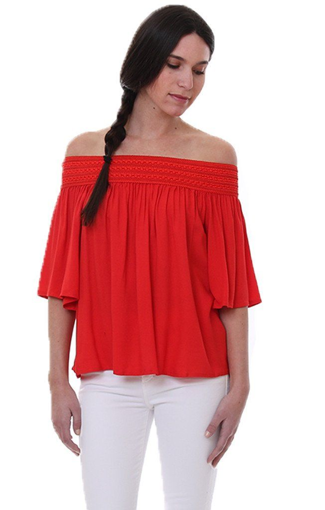 Jack by BB DakotaRed Off the Shoulder Embroidered Short Sleeve Blouse Lin Top Fire Red Open shouldershirt Short sleeves Elastic band around shoulders Lightweight blouse Model is in size Extra Small Style #:JIH204662 100% Rayon Trim: 90% Polyester 10% Spandex Hand wash cold, lay flat to dry or dry clean