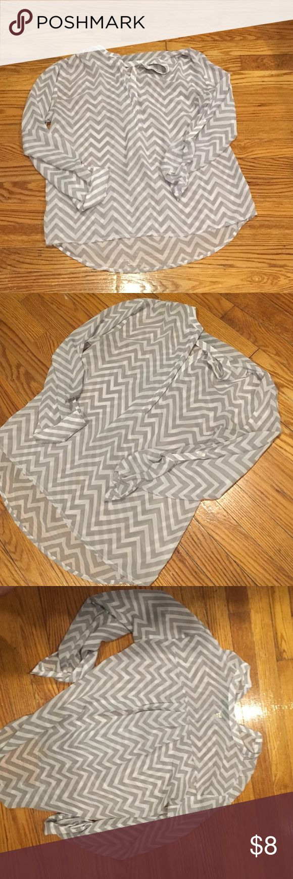 Chevron Blouse Sheer chevron blouse. Gray and white a.n.a Tops Blouses