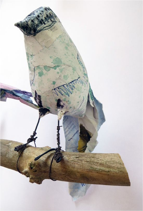 Book Transformation: Flock of Birds - Finished paper bird sculpture. http://www.accessart.org.uk/book-transformation-flock-of-birds/