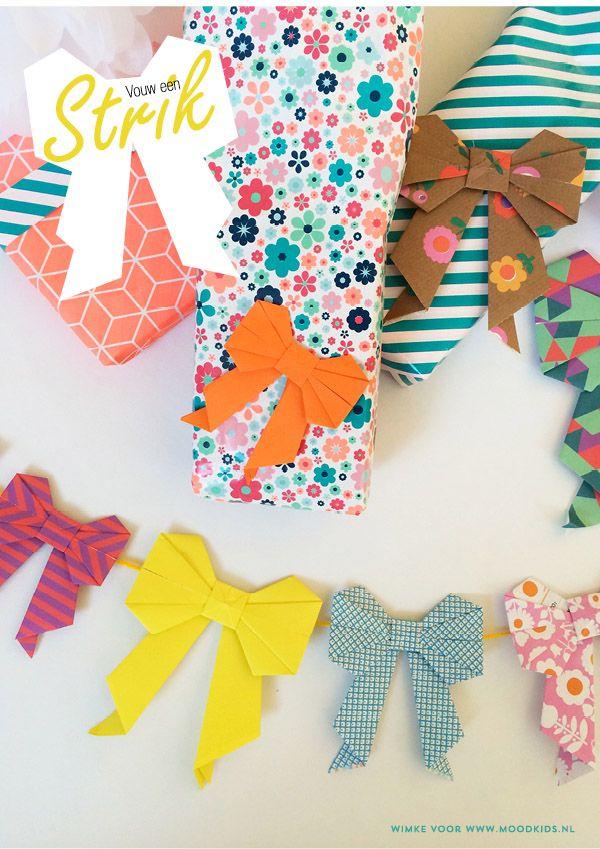 moederdag origami strik vouwen #origami #paper #diy #bow