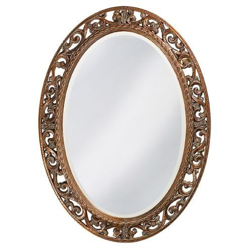 "Howard Elliott 2123 Suzanne 37"" x 27"" Oval Mirror - Gold"