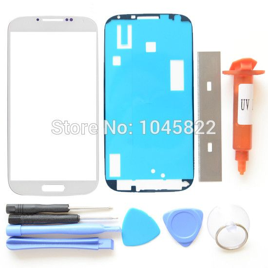 Front Outer Screen Glass Lens Repair Kits For White Black Samsung Galaxy S4 IV i9500 i9505 i337 + UV LOCA Glue + Adhesive+ Tools