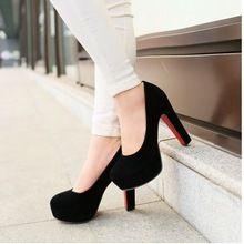 Big size 32-43 High Heels Platform Pumps Shoes 2015 New Arrivals Red Bottom Wedding Shoes Flock Platform Pumps Fashion 2015(China (Mainland))