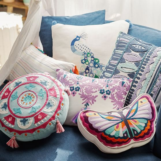Lennon & Maisy Embroidered Peacock Pillow Cover | PBteen