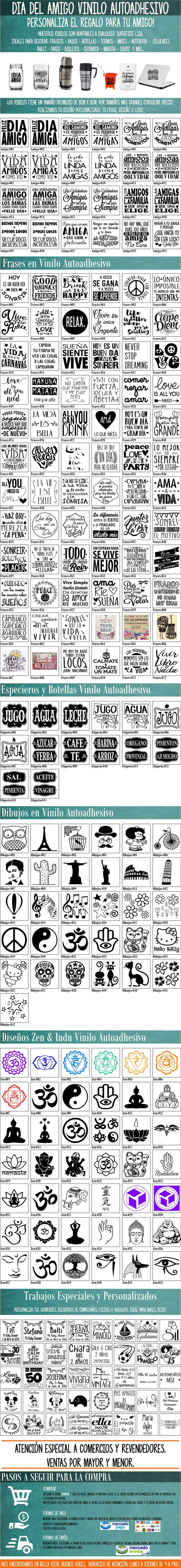 Dia Del Amigo-vinilo-autoadhesivo-frasco-frases-personalizad - $ 10,00
