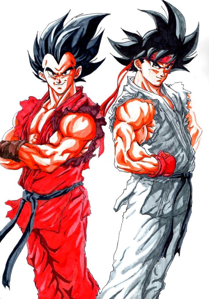 goku and vegeta street fighter crossover Art Print
