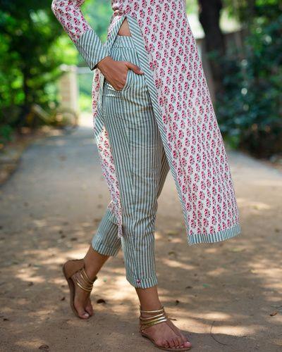 Block Print Olive Stripes Pants