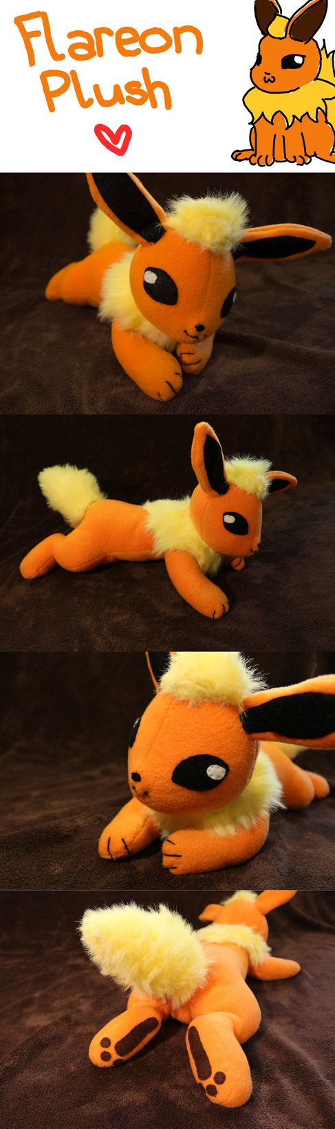 I'm finally done! It took me almost a week to finish, but it's done My Flareon plush... It was the first time that I made my own pattern and it took me some time until it turned out how I wanted it...