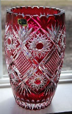 """Stunning Germany Cranberry Lead Cut to Clear Sawtooth Crystal Vase ~ 9 3/4"""" Tall"""