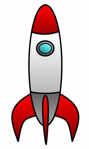 Vintage cartoon rocket built with dark outlines and fun colors.