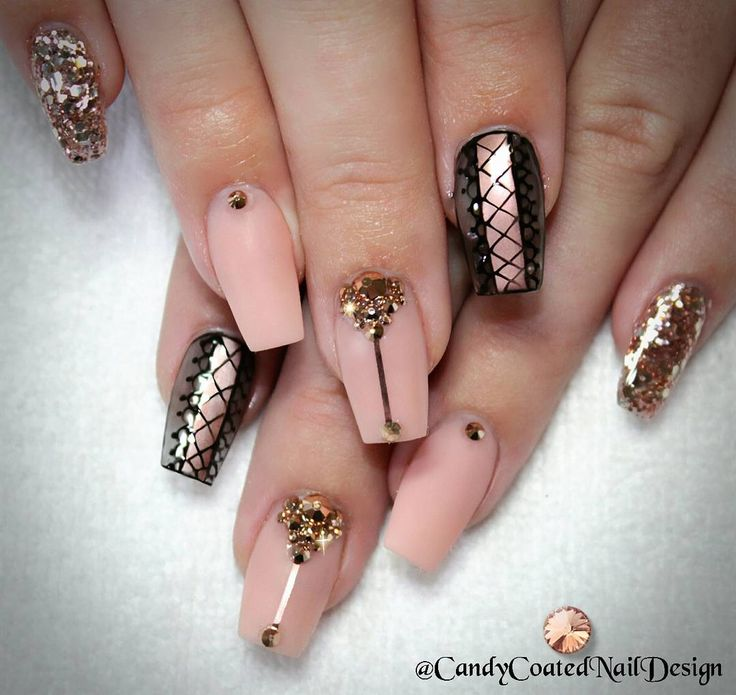 1180 best nails images on pinterest nail design ps and nail art peach and black nails highlight the beauty of the rose gold nail accent in this design see the acrylic nail design here prinsesfo Gallery