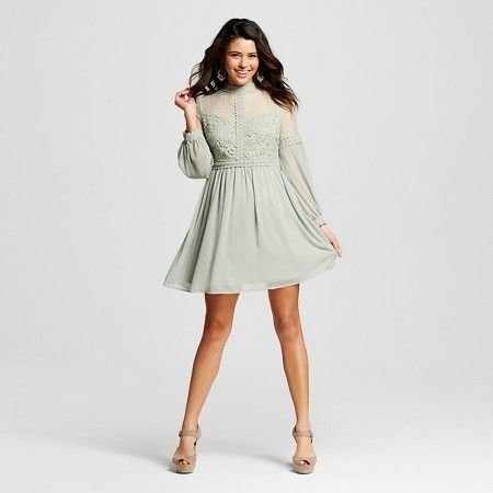 Women's Mixed Lace Long-Sleeve Dress Mint Green S - Xhilaration™(Juniors') : Target