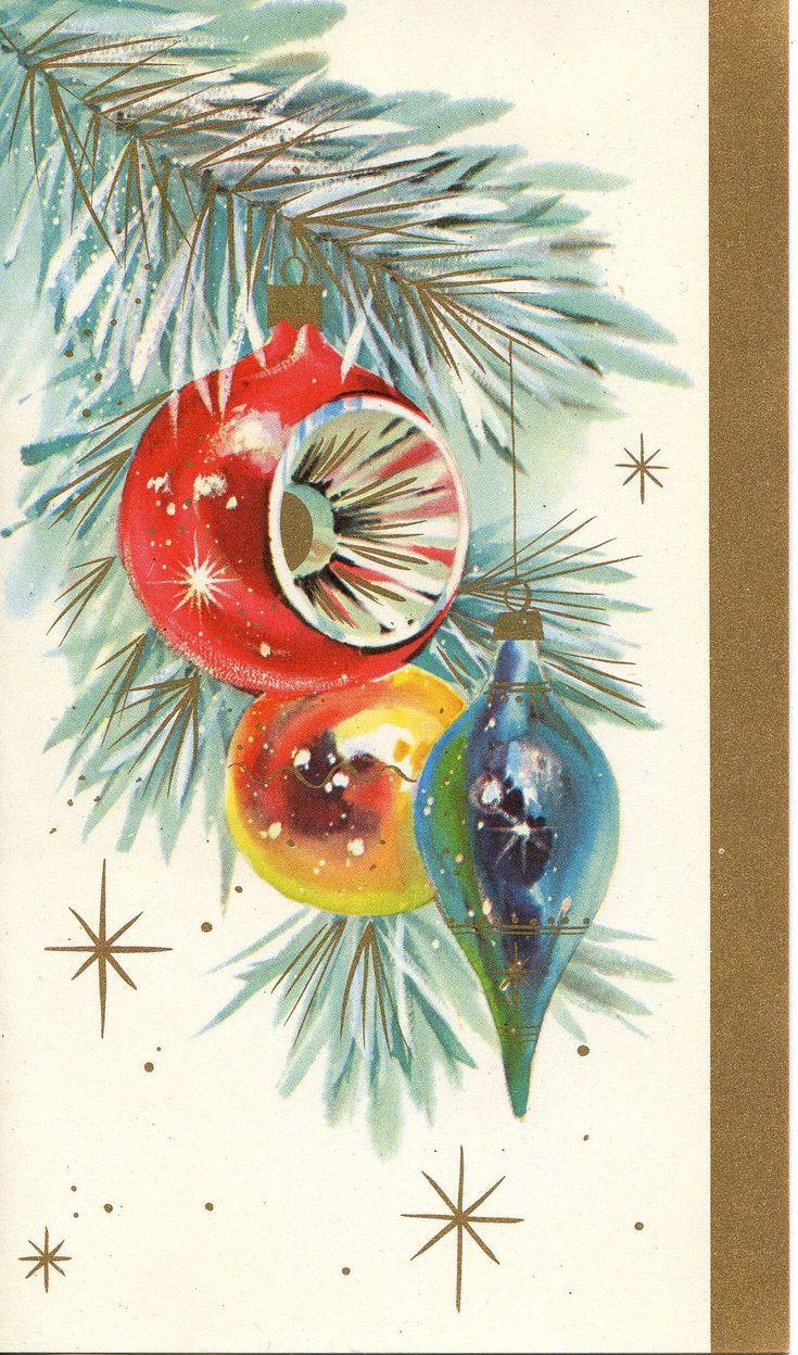 Christmas •~• vintage greeting card #vintageornaments
