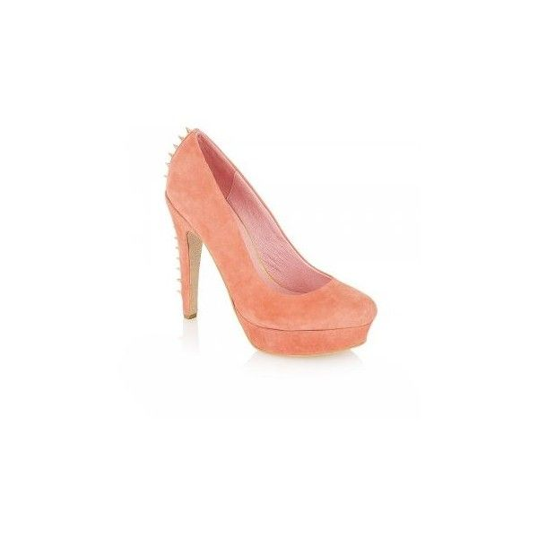 Ravel Lavina Spiked Court Shoes Peach Suede (€79) ❤ liked on Polyvore featuring shoes, pumps, ravel shoes, suede leather shoes, spiked shoes, peach shoes and spiked pumps