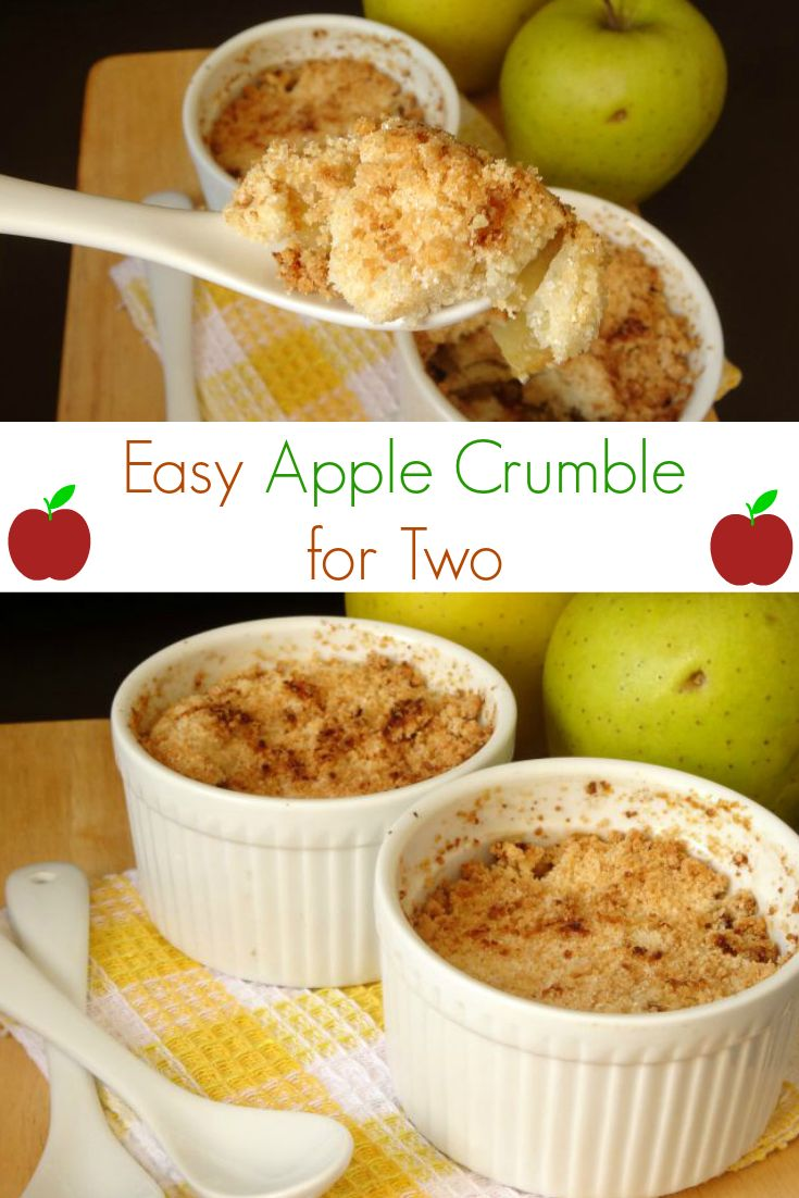 Easy Apple Crumble for Two Recipe - a delicious and comforting dessert of apple crisp, perfect for cuddling up with on a cool fall night. This recipe only makes two perfectly sized portions, so you'll never have wasted leftovers!   www.pinkrecipebox.com