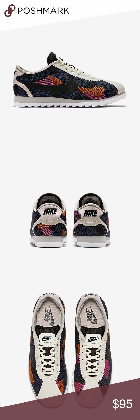 ✨🆕✨{Nike} Cortez Ultra Print Super cute, right? Brand new in box, never been worn outside, but they were a display pair on floor so the sole is a little dirty. Price is firm. Color: black, white, purple, pink....Roshe's family.   ❌ NO TRADES - SELLING ON POSH ONLY ❌ ❌ NO LOWBALLING ❌  ✅ Bundle Discounts ✅ Ship Next Day of Purchase  💯 % AUTHENTIC Nike Shoes