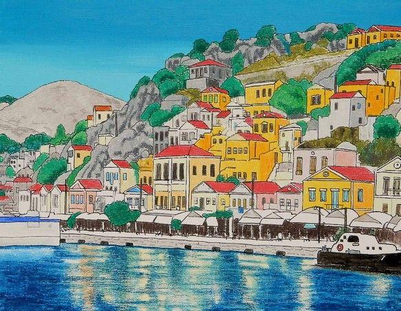 ◆エーゲ海に浮かぶギリシャ領ロドス島近郊のシミ島の港です。◆キャンバス F6(409×318mm)◆使用画材:アクリル絵具、オイルパステル◆作品表...|ハンドメイド、手作り、手仕事品の通販・販売・購入ならCreema。