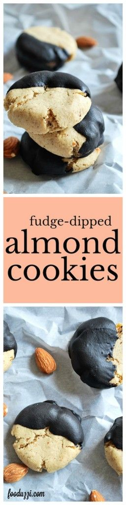 Fudge-Dipped Almond Cookies: Perfect little almond cookies dipped into a homemade fudge sauce. Best of all, they're gluten free, vegan, dairy free, healthy, and perfect for Christmas Cookie extravaganzas! || fooduzzi.com recipes
