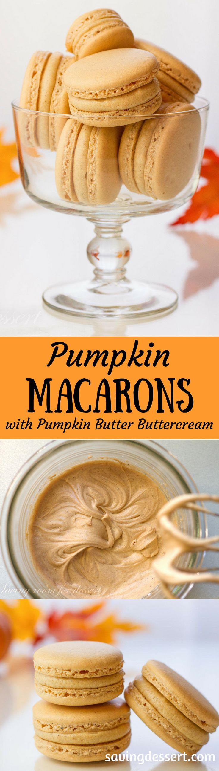Pumpkin Macarons with Pumpkin Butter Buttercream | www.savingdessert.com