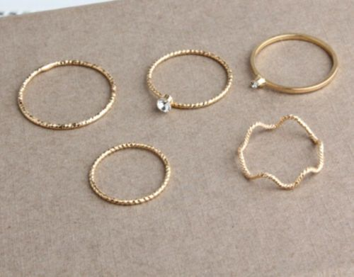 USA Gold/Silver 5Pcs Stack Crystal Cute Above Knuckle Band Midi Ring Set