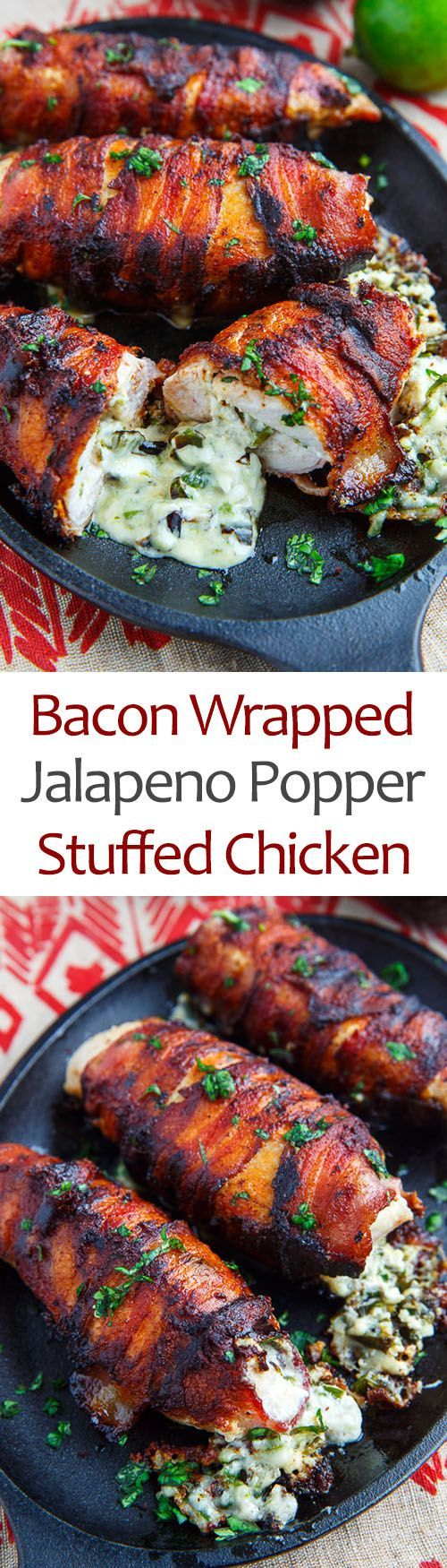 Bacon Wrapped Jalapeno Popper Stuffed Chicken recipe! Juicy chicken breasts wrapped in crispy bacon and stuffed full, to overflowing, with melted cheese and jalapeno peppers! whoa... just me or does this have it all!?! And its actually simple to make! #chicken #bacon #jalapenopopper
