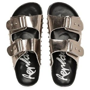 Replay Gunmetal Ploner Stud Detail Sandals | Accent Clothing