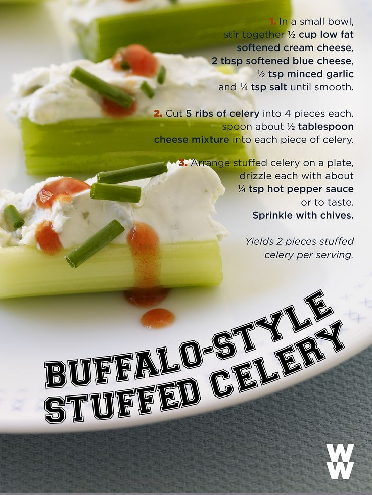Score a touchdown at your Big Game party with these Buffalo-Style Stuffed Celery recipe.  Drizzle on extra hot sauce if your guests can take the heat!