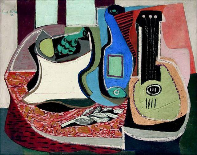Emil Filla - Still-Life with a mandolin (1926) #painting #art #CzechArt #Czechia #cubism