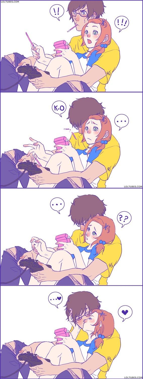 I want this to happen to me one day. Except  I have the pocky stick in my mouth and my own controller in my hand. <3