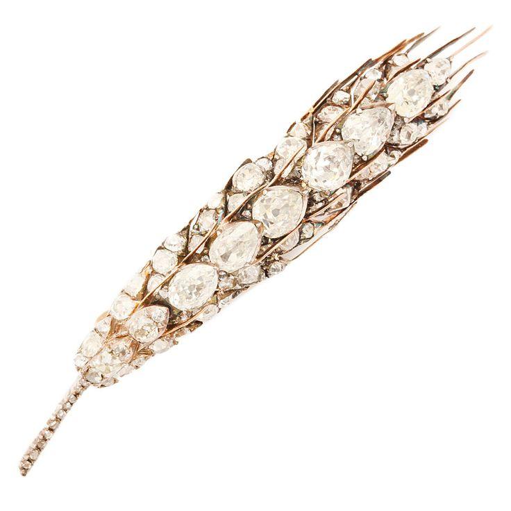 Victorian Diamond Gold Sheaf of Wheat Brooch, Circa 1890
